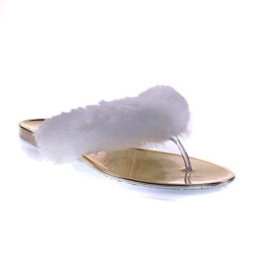 Sandale Plate En Fausse Fourrure De Bambou, Slip Plat Sur Pantoufle W Lanière Transparente En Lucite Blanc