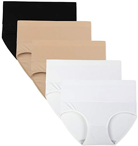 Innersy Women's 5 Pack High Waist Tummy Control Solid Color Cotton Briefs Panties(Love Yourself First) (Black-Beige-White, XL)