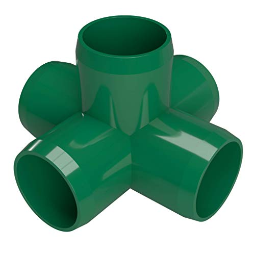 FORMUFIT F0015WC-GR-4 5-Way Cross PVC Fitting, Furniture Grade, 1'' Size, Green (Pack of 4) by FORMUFIT