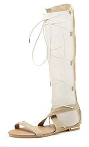 Easemax Womens Comfort Strappy Unique Open Toe Self Tie Flat Gladiator Under Knee High Boots Sandals Beige Zea6V1yzmP