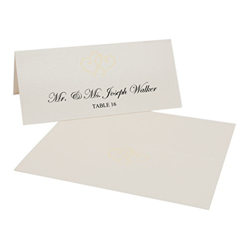 Linked Hearts Easy Print Place Cards, Champagne, Ivory, Set of 400 (100 Sheets) by Documents and Designs