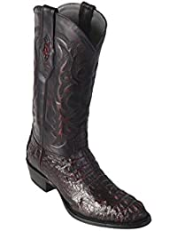 Men's Round Toe Genuine Leather Caiman Hornback Skin Western Boots - Exotic Skin Boots