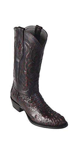 Men's Round Toe Black Cherry Genuine Leather Caiman Hornback Skin Western Boots - Exotic Skin Boots -