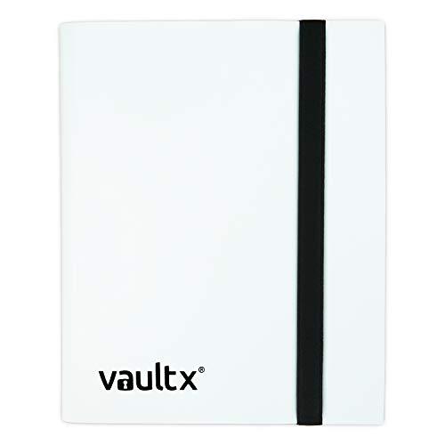 Vault X Binder - 4 Pocket Trading Card Album Folder - 160 Side Loading Pocket Binder for TCG MTG Pokemon YuGiOh! Star Wars X-Wing Wow (White) (Pokemon Strap)