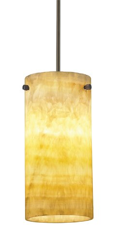 Juno Lighting Group P136TWS6-BRZ-AMO Trac-Master White Adapter 1-Light 26-watt Energy Star CFL Mini-Pendant and Natural Onyx Shade, Vintage Bronze Finish - Energy Star Island Pendant