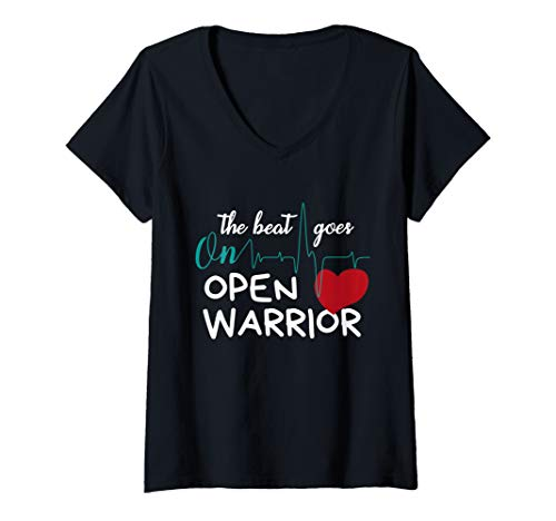 V-neck Warrior Womens - Womens Post Heart Surgery Bypass Recovery Design Open Heart Warrior V-Neck T-Shirt