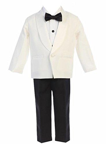 iGirldress Little Boys Ivory Jacket Black Pants Shirt Bowtie Tuxedo Ring Bearer Suit Size 6 by iGirldress