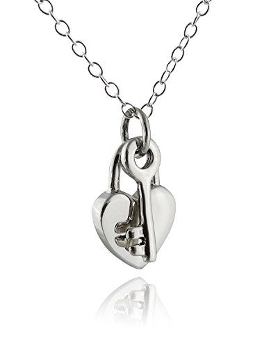 (Sterling Silver Heart Padlock and Key Pendant Necklace, 18