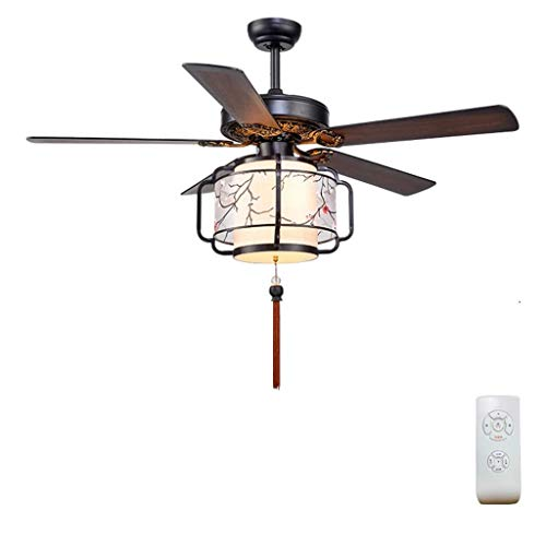 SUN HUIJIE 52-Inch Wood Ceiling Fan with Matte White Burlap Led Shade and 5 Wood Finish Blades, Remote Control Included (Size : 52 ()