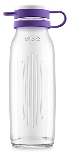 Ello Elsie BPA-Free Glass Water Bottle, 22 oz, Grape ()