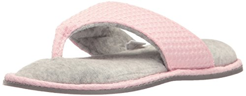 Dearfoams Women's Knit Thong Slipper �?Textured Waffle Knit Slip-On Slipper With Memory Foam Cushioning and Indoor/Outdoor Tread Outsole Fresh Pink