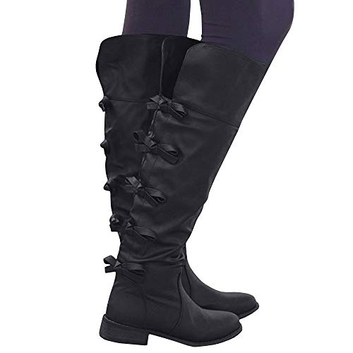 Syktkmx Womens Cuff Knee High Boots Winter Leather Chunky Flat Low Heel Tie Knot Boots