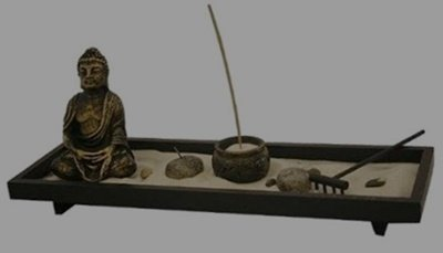 Tabletop Home Zen Garden Set - Buddha Statue / Tea Light Candle Holder / Incense Stick Burner Holder