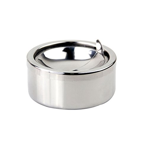 dufu-beauty-store Stainless Steel Cigarette Lidded Ashtray Round Windproof Ashtray with Cover