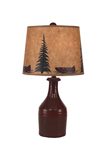 Coast Lamp Manufacturing 3606 SPTG SD-579RD Small Clay Jug Accent Lamp with Tree & Canoe Shade from Coast Lamp Manufacturing