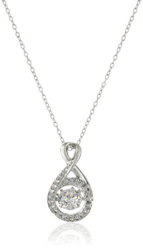 Rhodium Plated Sterling Silver Dancing Cubic Zirconia 6mm Pendant Necklace, 18