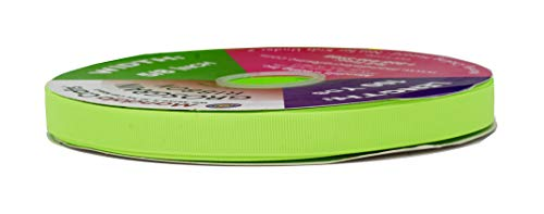 Mandala Crafts Grosgrain Ribbon from Polyester Fabric for Gift Wrap, Hair Ties, Bows, Luggage, Scrapbooks, Decoration, Sewing (5/8 Inch 16mm, Lime ()