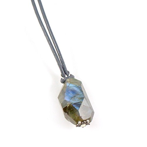 Men's Necklace: Labradorite Pendant with Unique Nugget-Cut Labradorite, Leather and Handmade Silver. Unique Men's Necklace. Limited Edition by Wishgiving