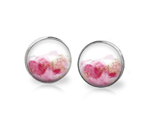 Pink Watermark Blot Earrings Studs Handmade Jewelry 12 mm