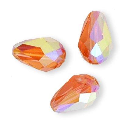 24 pcs 9x6mm Swarovski Crystal 5500 TearDrop Beads, Padparadscha AB, SW-5500 - Ab Swarovski Crystal Drop Bead