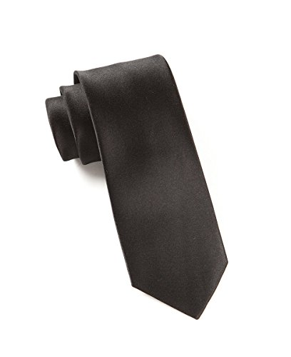 The Tie Bar 100% Silk Black Solid Satin Skinny Tie (Solid Satin Cravats)