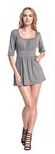 Gris Le Femme Chin tunique 940 T Empire top Coupe shirt Glamour fronc effet flatteuse 7fwWSX1x7O