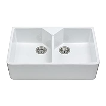 cda kc12wh 80cm double ceramic kitchen sink in white waste. beautiful ideas. Home Design Ideas
