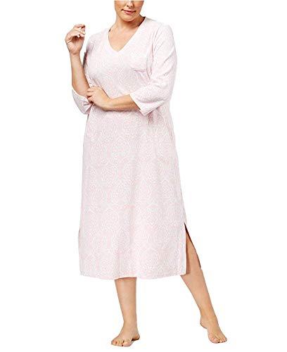 Miss Elaine Plus Size Brushed Waffle-Knit Nightgown, Pink Damask -