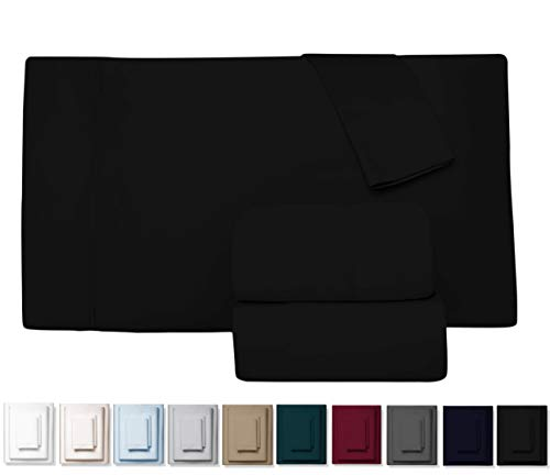 True 600 Thread Count 100% Pure Egyptian Cotton Bed Sheets, 4-Pc Cal King Black Sheet Set, Single Ply Long-Staple Combed Cotton Yarns, Best Sateen Weave, Fits Mattress Upto 17'' Deep Pocket