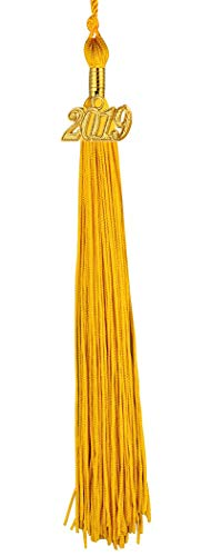 ([2019 Upgrade]HEPNA Uniforms Graduation Cap Tassel for Graduation Photograghy,Single Color Gold,2019 Year Charm)