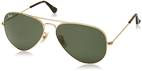 Image of Ray-Ban Women's Oversized Polarized Aviator Sunglasses, Gold/Green, One Size