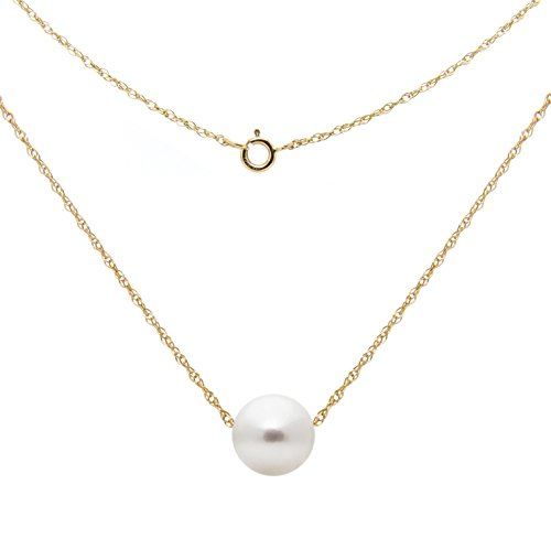 14k Yellow Gold Chain Necklace with 7-7.5mm White Freshwater Cultured Pearl Floating Pendant, 18