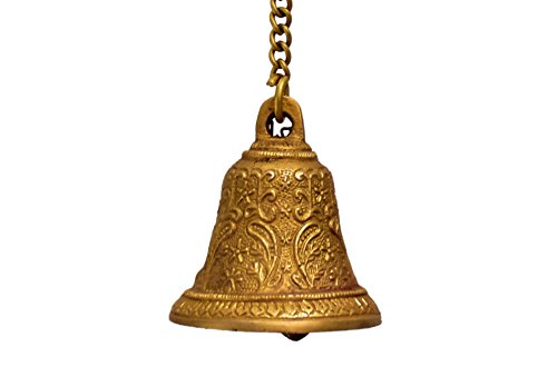 Purpledip Temple Hanging Bell : Small Bell for Home Temple, Door, Hallway Chain Length 15 inch(10783) (Temple Bell Brass)