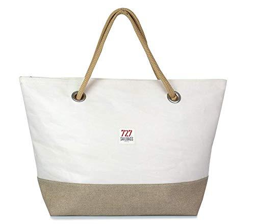 727Sailbags CARLA, linne och läder, strandväska handväska Shopper för kvinnor av återvunnet dacronsegel, linnebälte, antal 5 läder
