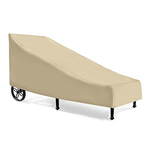 "SunPatio Waterproof Patio Chaise Lounge Cover, Outdoor Lounge Chair Cover, Heavy Duty Day Chaise Cover with Sealed Seam, Pool Lounge Chair Cover, All Weather Resistant, 80"" L x 36"" W x 32"" H, Beige"