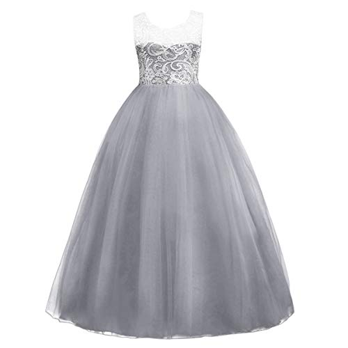 Toddler Girls Kids Floor Length Vintage Floral Lace Tulle Bridesmaid Dress A Line Wedding Pageant Party Princess First Communion Dance Formal Prom Long Maxi Evening Ball Gowns Grey 10-11