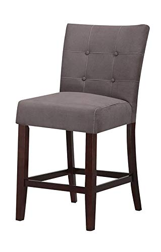 ACME Baldwin Gray Microfiber Counter Height Chair Set of 2 (Furniture Microfiber Sets)