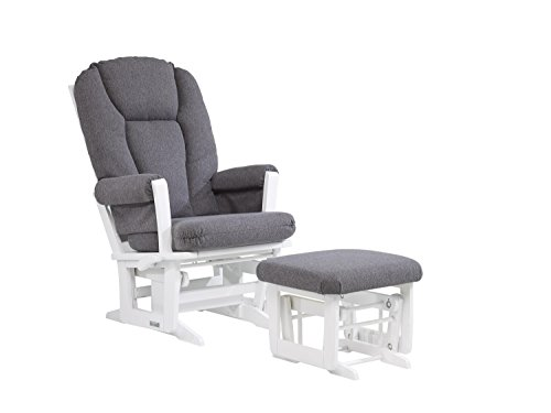 Dutailier Modern Glider with Multiposition, Recline and Nursing Ottoman Combo, White/Dark Grey by Dutailier