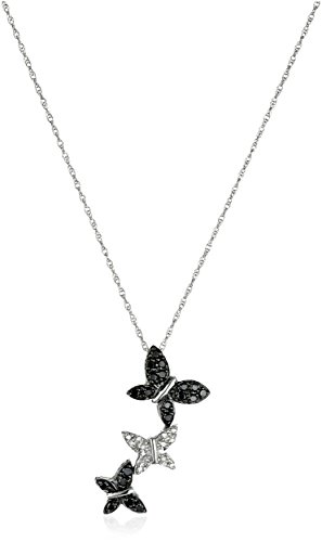 XPY 14k White Gold Black and White Diamond Triple Butterfly Pendant (1/5 cttw), 18″