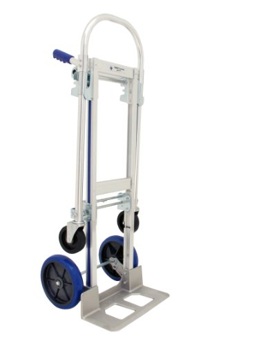 Nose Plate Standard Hand Truck - RWM Casters Aluminum Convertible Hand Truck with Loop Handle, Rubber Wheels, Extruded Aluminum Nose Plate, 500lbs Load Capacity, 51