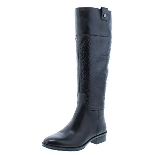 Boots Riding Womens Paris Leather Leather Embossed Maine Black Lagerfeld Karl xwz0f5q6E
