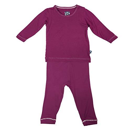 (Kickee Pants Girls' Long Sleeve Pajama Set, Orchid, 2T)