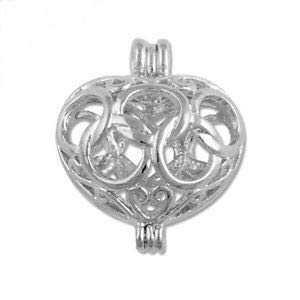 Small Antiqued Silver Open Filigree Heart 19mm Hinged Bead Cage Drop Pendant 1pc Crafting Key Chain Bracelet Necklace Jewelry Accessories Pendants