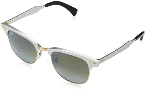 Ray-Ban Clubmaster Aluminum - Brushed Silver Frame Green Flash Gradient Lenses 51mm - Clubmaster Ban Ray Sunglasses