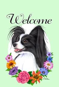 Papillion Black/White - Tomoyo Pitcher Welcome Flowers Large Flag
