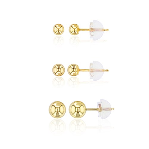 18k Gold Ball Earrings (14K Gold Yellow Ball Stud Earrings (3,4,5mm Yellow))