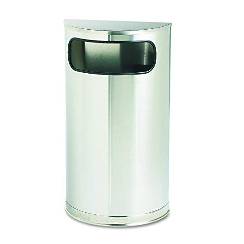 Rubbermaid Commercial European and Metallic Series Receptacle, Half-Round, 9 Gallons, Satin Stainless (SO8SSSPL) (Renewed) ()