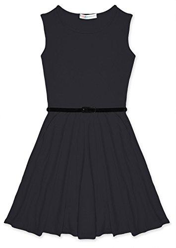 Buy belted black skater dress - 7