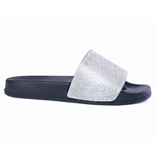 Deslizadores Sandalias Para Con Zapatillas Mujer Planos Brillantes Diamantes Negro Diamante Coloridas qqFB1tx