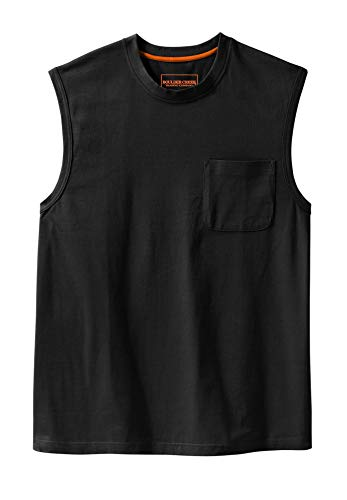 Boulder Creek Men's Big & Tall Heavyweight Cotton Muscle Shirt with Pocket, Black Tall-2XL ()